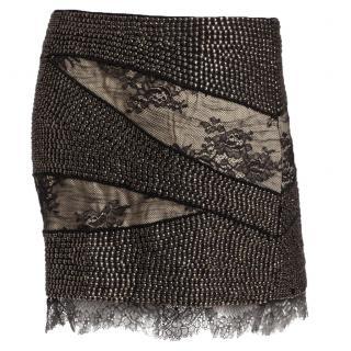 Haute Hippie Black & Cream Lace Studded Skirt