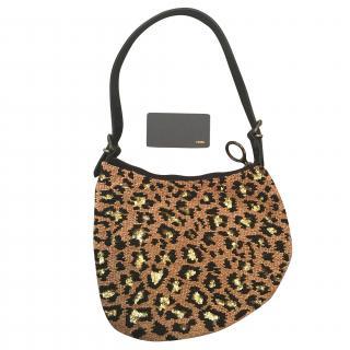 Fendi beaded leopard print bag