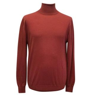 Yves Saint Laurent Red polo neck sweater
