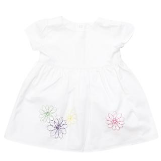 2 Angels girl's white dress with embroidered flowers