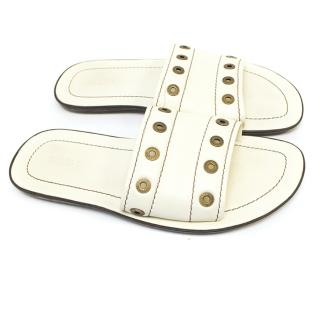 Louis Vuitton cream sandals