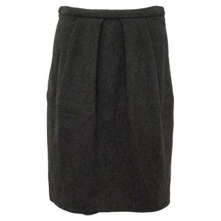 Donna Karan Grey Wool Skirt