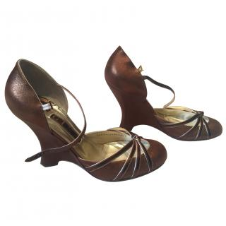 Gina bronze metallic wedge shoe
