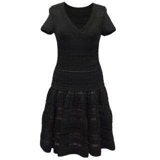Alaia black v-neck dress with lace detail