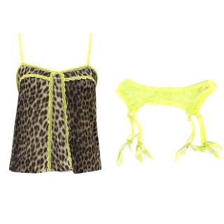 Agent Provocateur leopard print and neon slip and suspender set