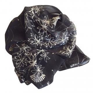 John Galliano silk crepe long scarf flower print