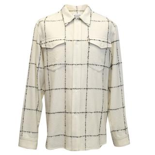 Maison Martin Margiela Cream checked wool overshirt