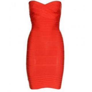 Herve Leger Strapless Bandage Orange Dress