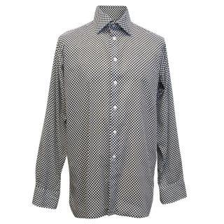 Richard James men's black and white checked shirt