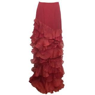 Roberta Furlanetto Red silk tiered skirt