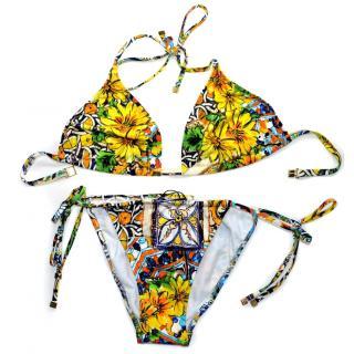 Dolce & Gabbana Majolica print bikini swimwear