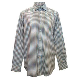 Etro men's blue checked shirt