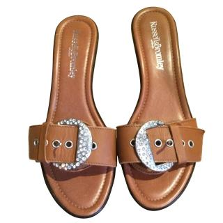 Russell and Bromley crystal sandal wedges