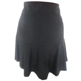THEORY Black Ruffle Hem Skirt