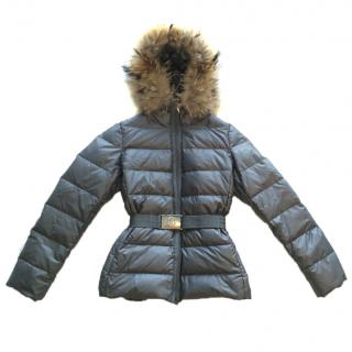 New Moncler Women's Dark Gray Winter Jacket with Fur Hood