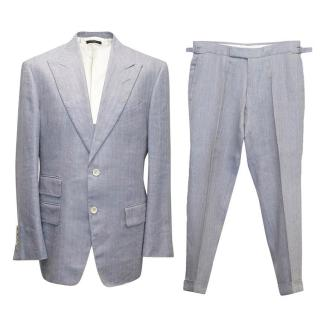 Tom Ford Men's Blue silk and linen herringbone suit