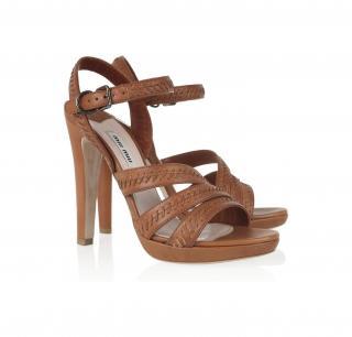 Miu Miu Whipstitched leather sandalsTan Brown