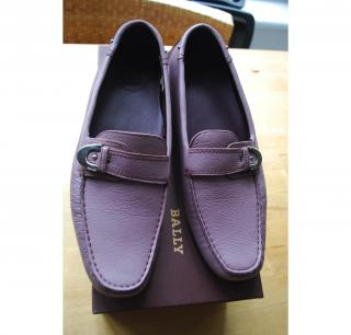 Bally lilac slip on loafers