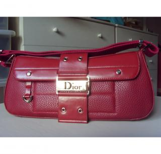 Red leather Christian Dior hand bag