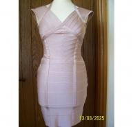 HERVE LEGER NUDE PINK BANDAGE DRESS