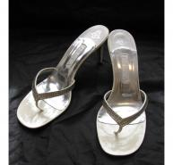 Gina white diamante heels