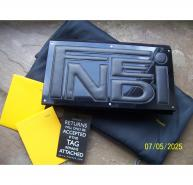 FENDI BLACK LOGO SUEDE PATENT LEATHER CLUTCH SHOULDER BAG