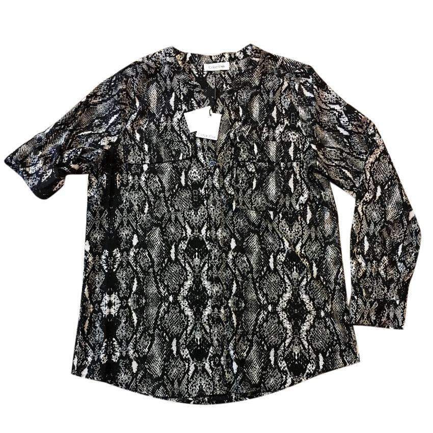Calvin Klein Button Down Black And White Animal Snake Print Blouse