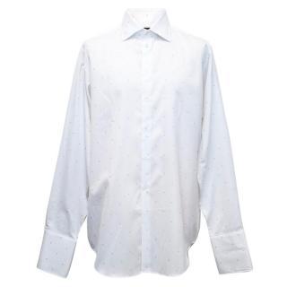 Richard James men's white shirt with blue spot pattern