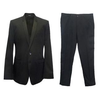 Dolce and Gabbana men's black silk sheen pinstriped suit