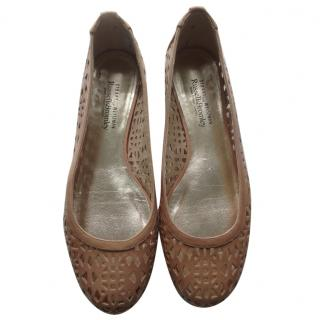 Stuart Weitzman for Russell & Bromley caramel coloured ballet flats
