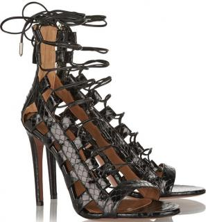 Aquazzura Amazon python-print leather lace-up black sandals