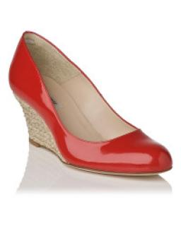 LK Bennett bright red Zella wedged shoes size 41