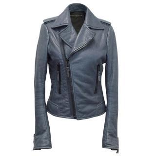 Balenciaga Blue leather jacket