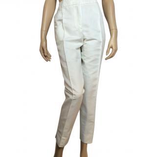 Carolina Herrera ribbed satin twill white trousers