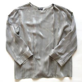 Giorgio Armani Black Label striped round neck silk shirt
