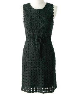 Diane von Fursteberg black crochet knit dress