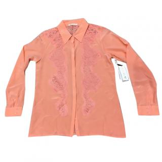 Gold Hawk Silk Orange Coral Shirt Blouse With Lace, Size S, New