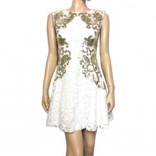 Sagaie Paris ecru sleeveless lace dress with gold sequins