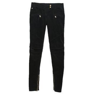 Balmain black velvet biker trousers