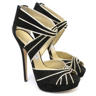 Jimmy Choo black velvet platform heels