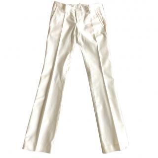 DSquared white satin trimmed trousers