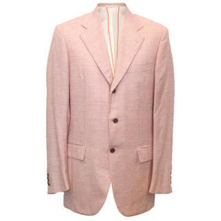 Kiton Men's pink checked blazer