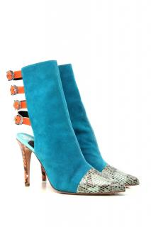 Gina Blue Suede Ankle boots with straps