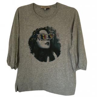 See by Chloe 3/4 Sleeve Grey T-shirt