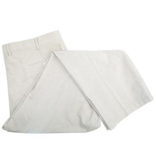 Brioni Men's white and grey pinstripe trousers