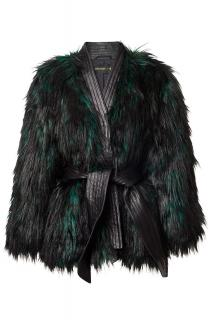 Balmain H&M ladies faux fur black jacket