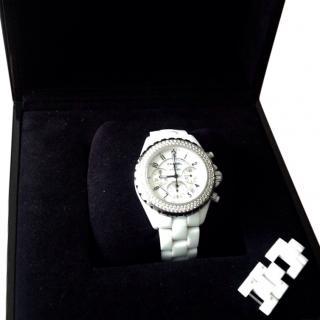 Chanel White J12 diamond watch