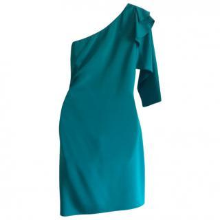 Diane Von Fustenberg Green One Shoulder Dress