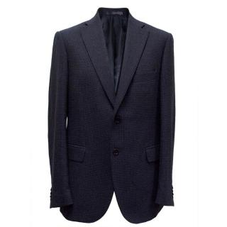 Boggi navy checked wool blazer
