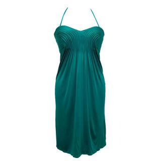 Issa halterneck turquoise mini-dress